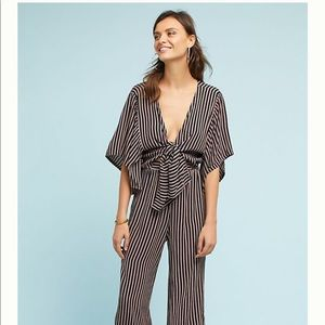 Anthropology Striped Jumpsuit